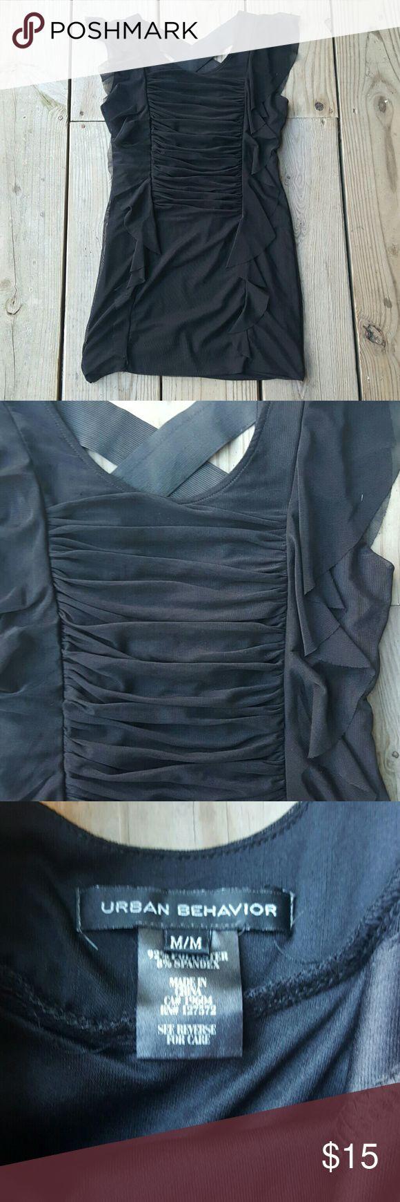 Little black dress by Urban Behavior Ruffled, gathered, criss-cross back, size MED Urban Behavior  Dresses Mini
