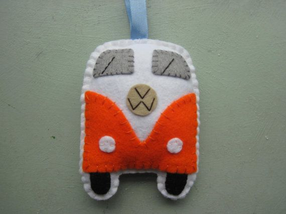 VW Campervan Hanging Ornament  Orange, VW Bus Plushie by GracesFavours on Etsy, £9.00