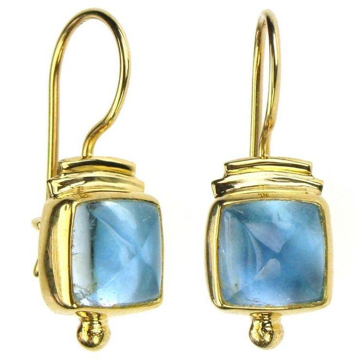 Evangelatos Square Aquamarine Wire Earrings, 18k Gold and Aquamarines. This and more handmade Greek jewelry at Athena's Treasures: www.athenas-treasures.com