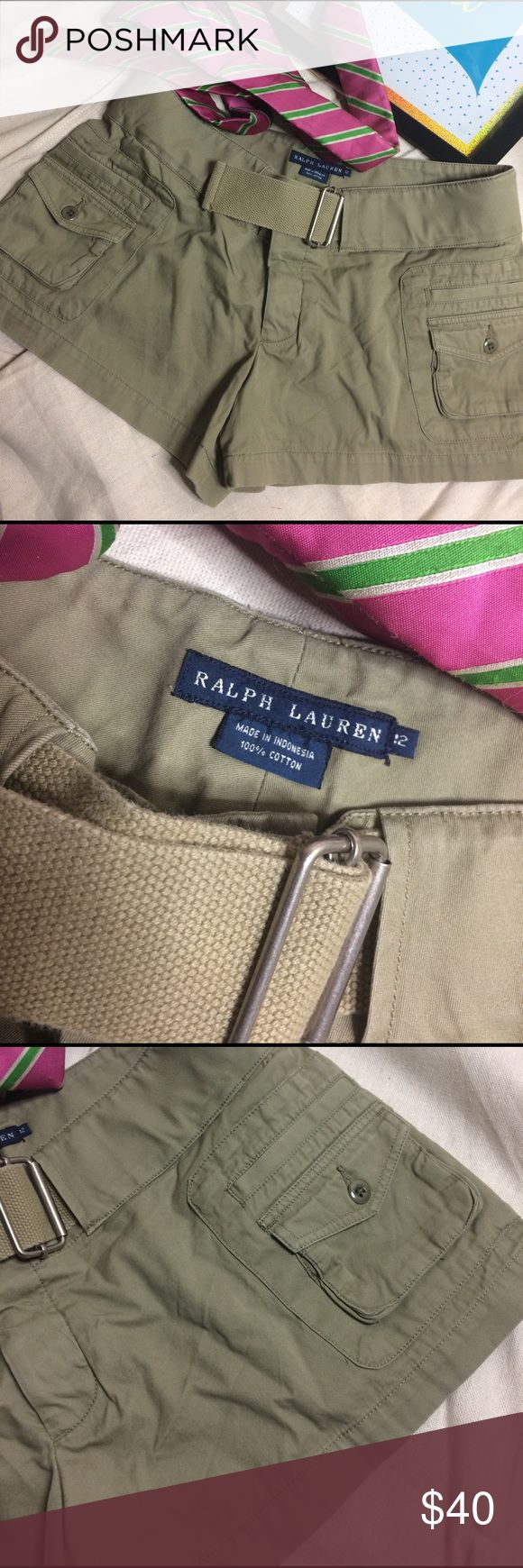 BNWOT Polo by Ralph Lauren Mini Cargo Short w Belt BNWOT Classic Polo By Ralph Lauren mini cargo shorts in classic army green with matching belt.  Hidden 5 button fly closure.  Women's size 12. Polo by Ralph Lauren Shorts Cargos