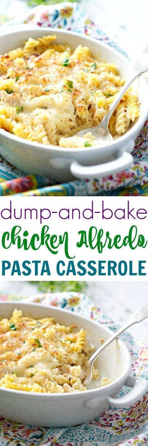 A 10-minute total crowd-pleaser, this Dump and Bake Chicken Alfredo Pasta Casserole is an easy, cheesy, comfort food dinner for your busiest weeknights -- and you don't even have to boil the pasta! (Baked Chicken Spaghetti)