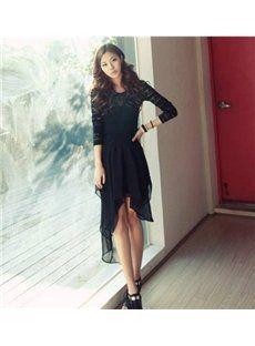 Black/Coffee Swallow Tail Chiffon Asymmetrical Hem Maxi Skirt