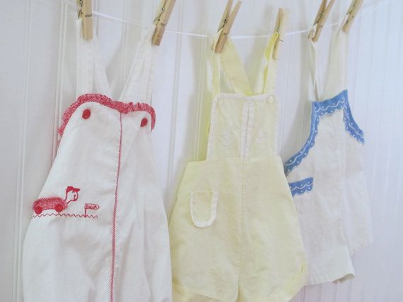 Vintage Baby Clothes, Little Boy Yellow Rompers, Short Overalls, Sail Boats, Hand Stitched