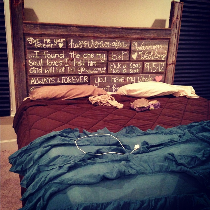 Handmade headboard by me and dad put of Pennsylvania barn wood and my handmade (by me) wedding signs! :)