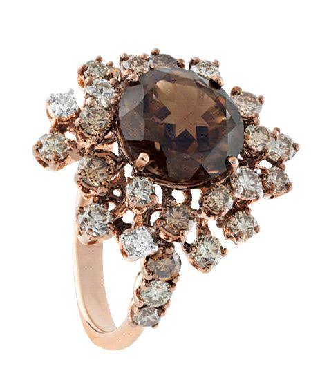 Damiani. ANIMA PINK GOLD, BROWN DIAMOND (1.70 ct.) AND SMOKY QUARTZ RING