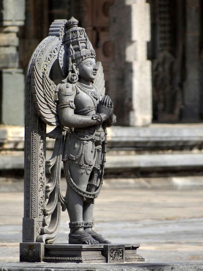 The Chennakesava Temple complex, Belur. Lord Garuda, the sacred steed of Vishnu, greets devotees at the portals of the temple. Courtesy: Ananth V Rao