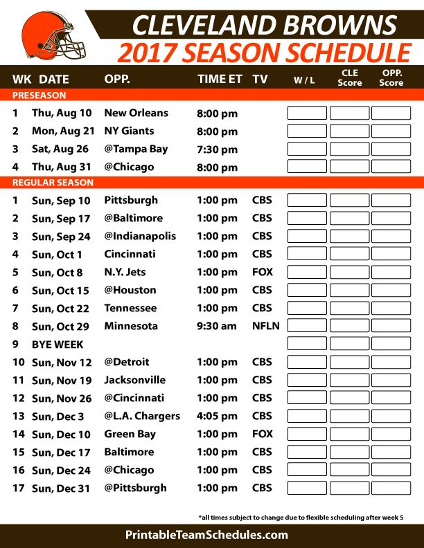 Cleveland Browns Football Schedule 2017