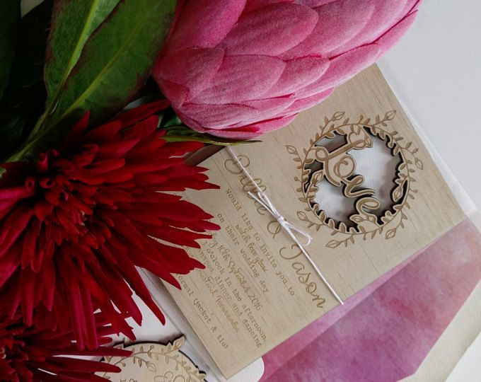 Wood wedding invitation. Vintage, rustic wedding invitation. Spring love loop.