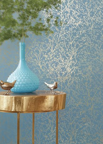 Manufacturer: Anna French Collection/Range: Zola Wallpaper Product Name: Zola Price: £90.00 Product Ref: AT34125 Gold On Mineral Blue Repeat(cm):61cm Half Drop Repeat Roll Size:10.05m x 52cm A beautifully elegant duotone wallpaper with gorgeous budding branches. Available in 6 colourways, 3 of which are foils.
