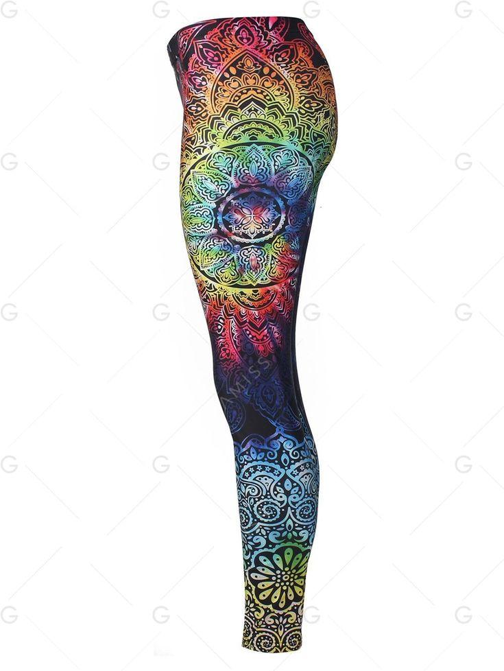 Bohemian Print Skinny Leggings - COLORMIX M