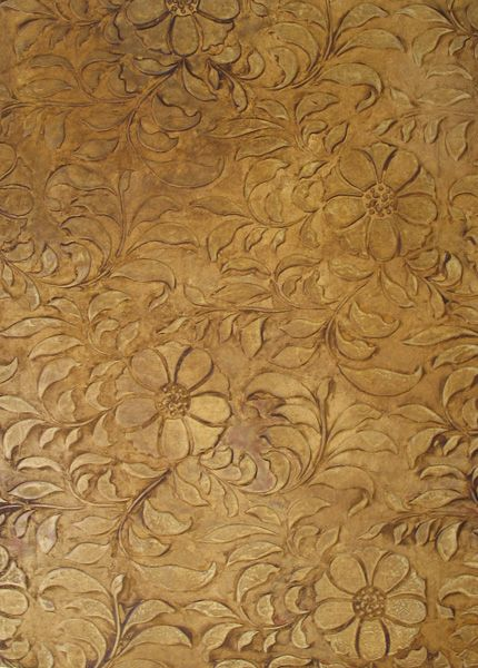 create a relaxing atmosphere with an allover leaf pattern and circular flowers the folk flower allover wall stencil can be stenciled on a feature wall for - Textured Wall Designs
