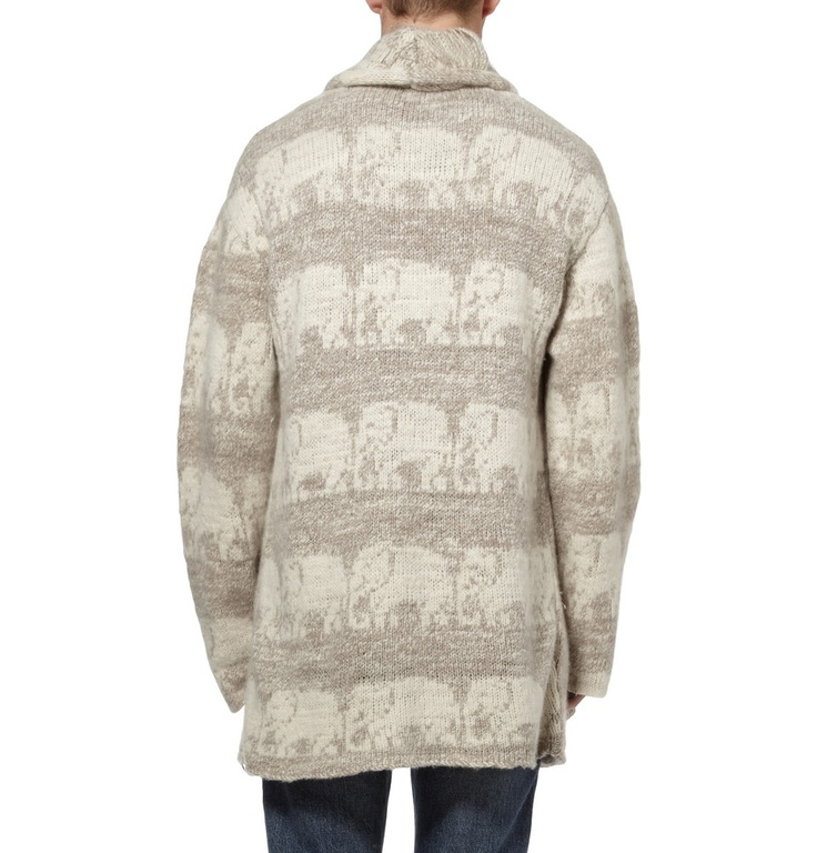 The Elder Statesman Elephant Pattern Cashmere Smoking Jacket