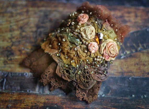 RESERVEDEvening bouquet shabby chic wrist cuff by FleursBoheme