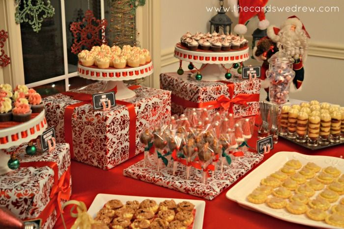 Red and Green Christmas Party - I like the idea of using wrapped boxes to add height to the buffet table. Find more Holiday tablescape ideas at http://www.pinterest.com/tonithea/entertaining-tablescapes/