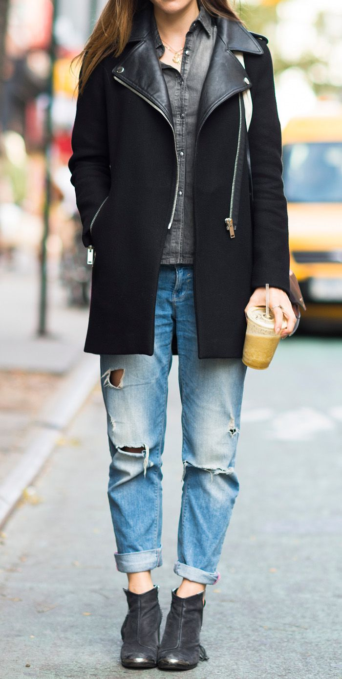 street chic black coat + ripped jeans