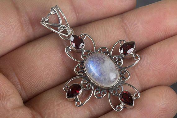 Moonstone & Garnet Pendant Pure 925 Sterling Silver Pendant