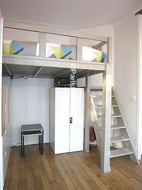 Bedroom mezzanine inspiration of rent apartment in paris for How to build a mezzanine floor for bedroom