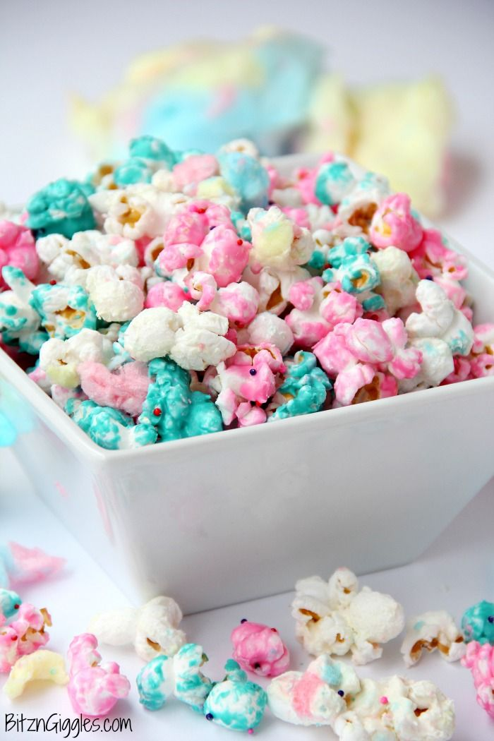 Cotton Candy Popcorn - Candy coated popcorn recipe with sprinkles and real cotton candy pieces! (Sweet Recipes Candies)
