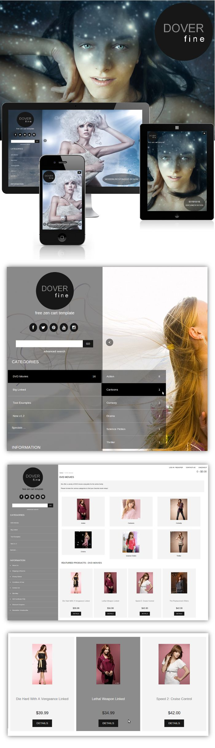 Dover Fine Free Zen Cart Template by Picaflor Azul, Responsive Ecommerce  Web Design.