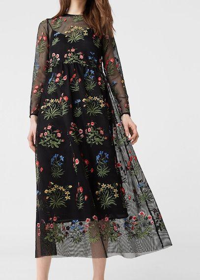 Geborduurde mesh jurk