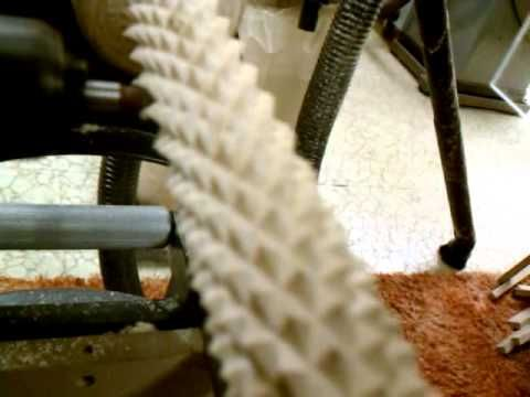 Home Built CNC Woodworking Lathe - First Attempt Crosshatch Carving - YouTube
