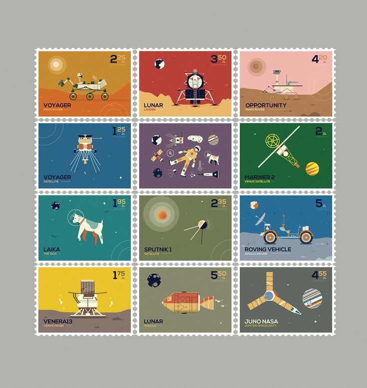 Space stamps collection on Behance