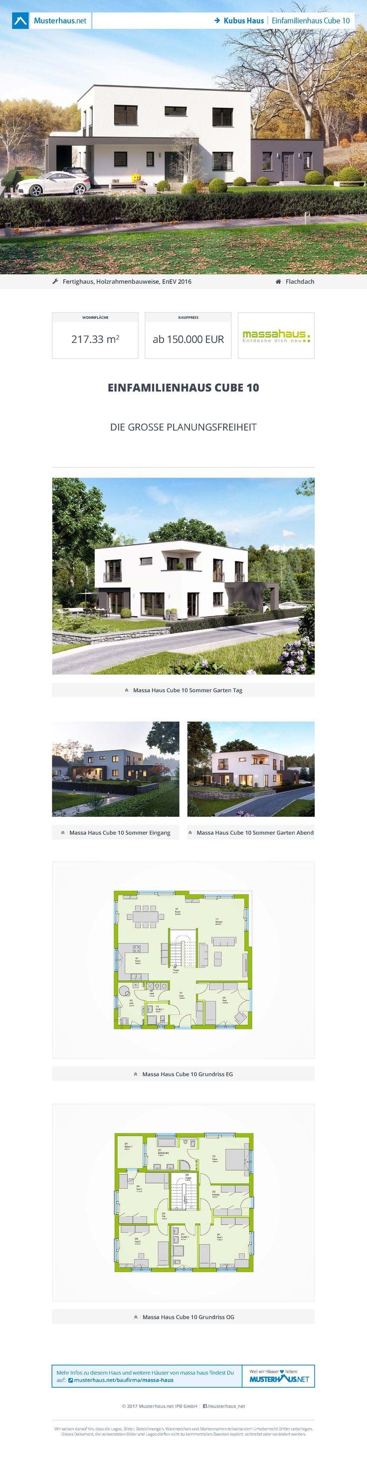 #Kubus Haus · Einfamilienhaus Cube 10 · massa haus · Jetzt bei #Musterhaus.net Unterlagen anfordern!