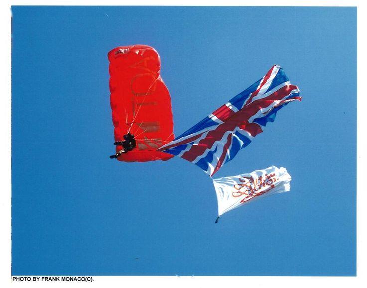 Patriotic para-glider arriving Art in Action in 2000!