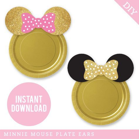 Gold Minnie Mouse Party Plate Ears (INSTANT DOWNLOAD). Two color schemes & two sizes are included!