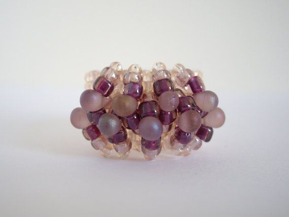 Peyote ring Woven ring Seed bead ring Beaded ring by MisakoBeads