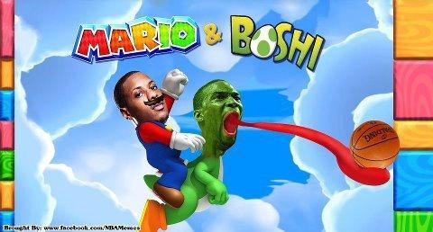 Super Mario and Boshi! #NBA #Heat #Champions
