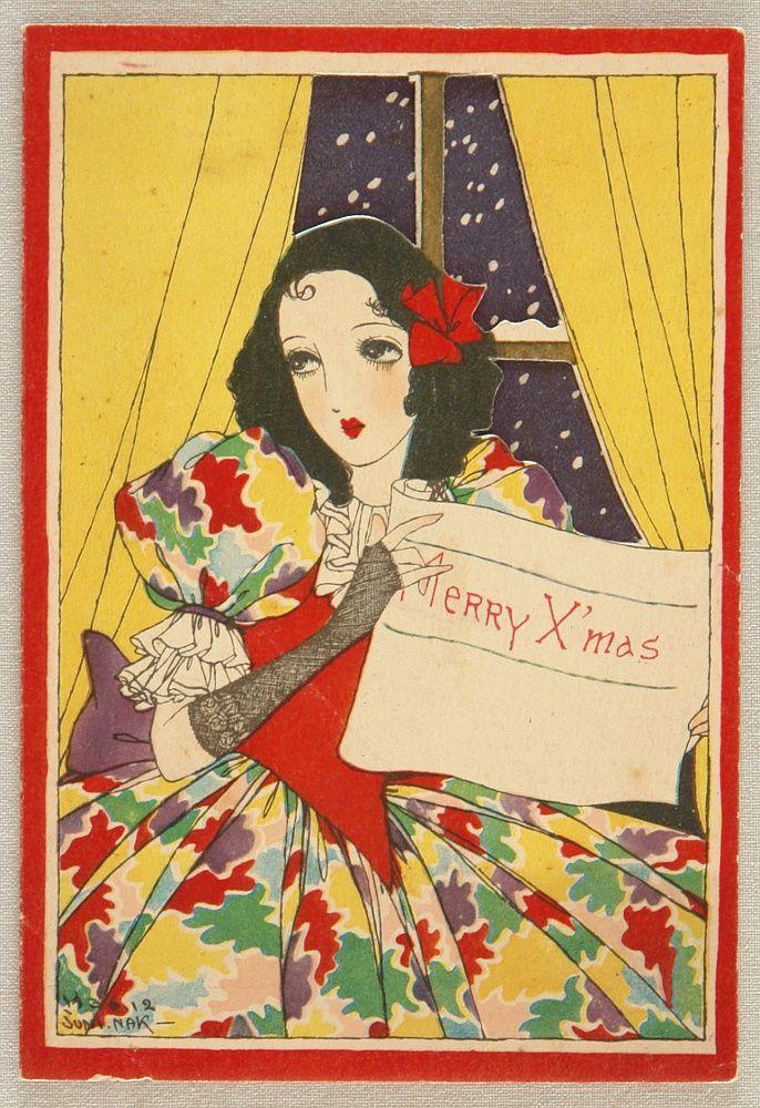 taishou-kun: Junichi Nakahara 1913-1988 - Greeting Card - Merry X-Mas - 1936