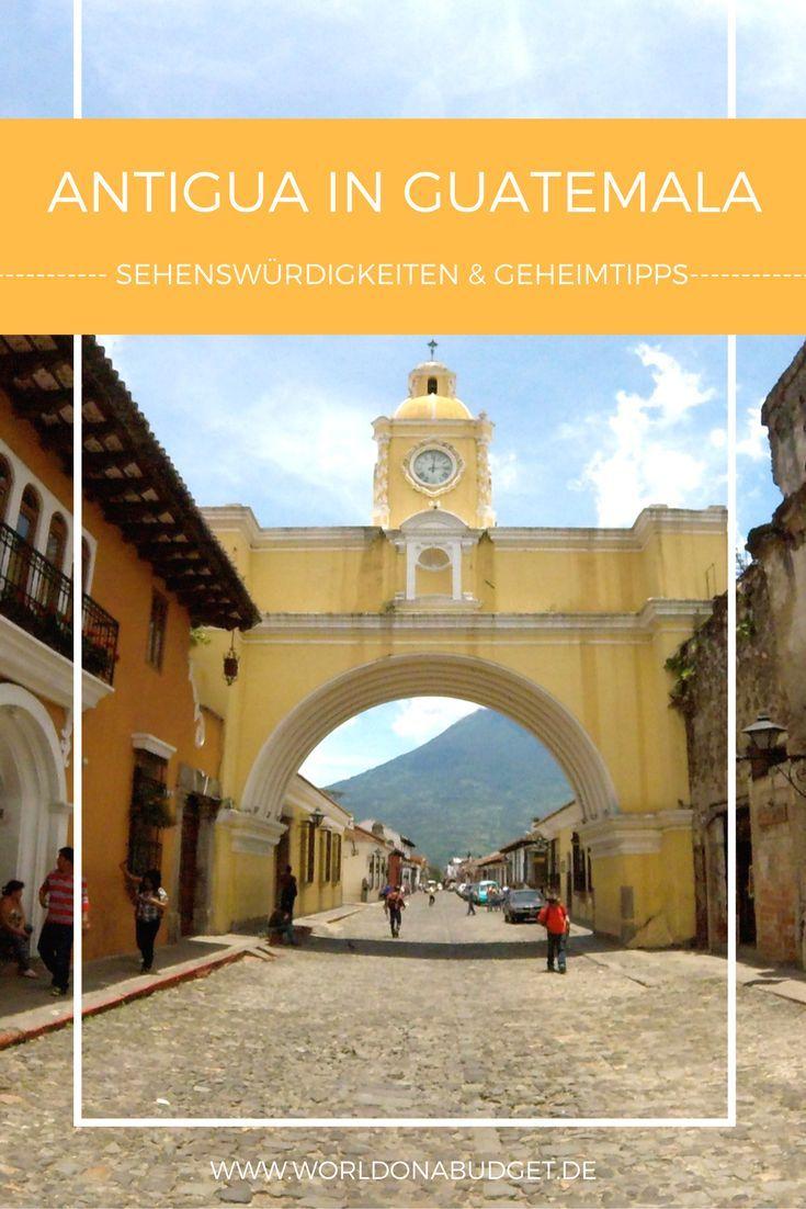 Reisetipps für Antigua in Guatemala: Antigua ist eine Stadt, die wohl kaum ein Reisender in Guatemala auslässt. Bunte Kolonialhäuser, eine große Auswahl an Spanisch schulen, eingekesselt von Vulkanen - Urlaub in Antigua wird bestimmt nicht langweilig. Auch zeigen wir dir wie du dich über Kunst und Kultur in Antigua informieren kannst, und wo es das leckerste Essen gibt.