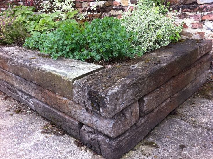 Railway sleepers raised bed for front garden                                                                                                                                                                                 More