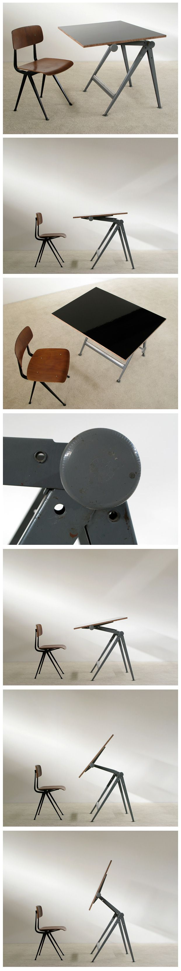 Industrial Reply drafting table and chair Wim Rietveld.  Love. Edit: with a Result chair by Friso Kramer.