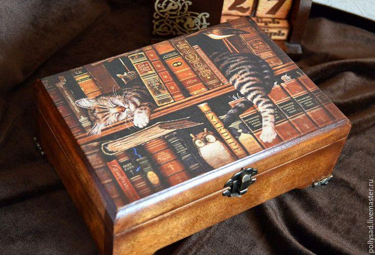 """Купить Шкатулка """"Кот книголюб"""", шкатулка для украшений, подарок женщине - коричневый, шкатулка, шкатулка для украшений"""