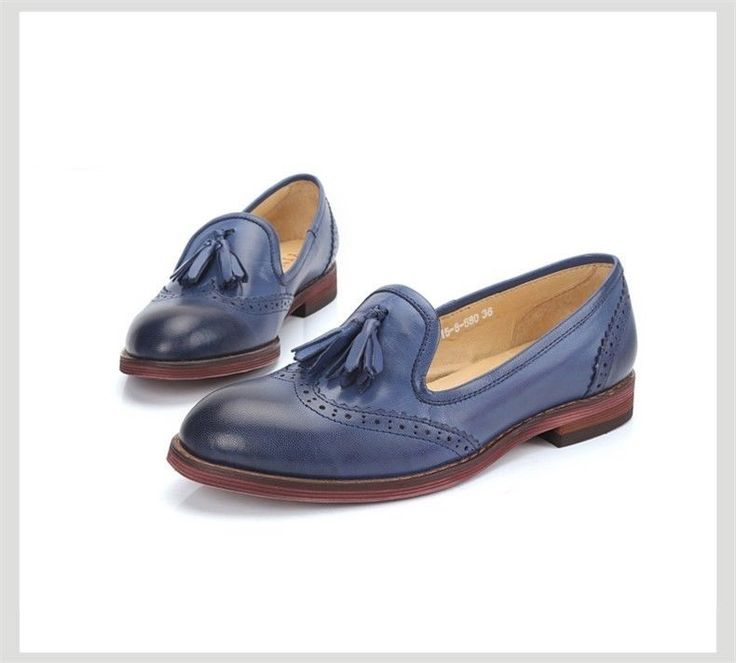 Oxford Shoes for Women Genuine leather Brogues Tassel Flats SIZE 4