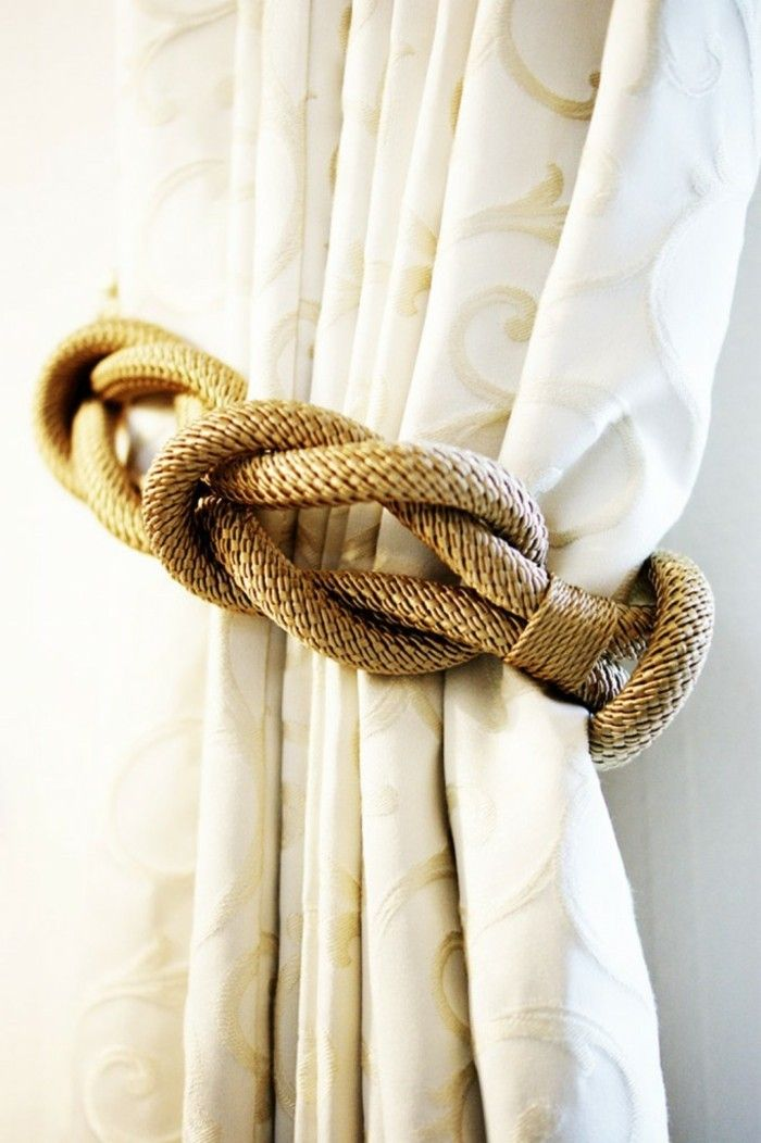 embrasse rideaux corde en plusieurs noeuds en couleur bronze