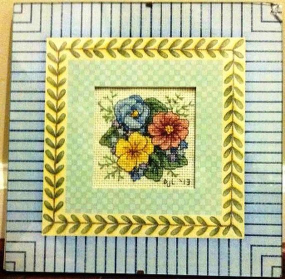Completed Cross Stitch in Glass Pretty Pansies by dannileifer, $24.99