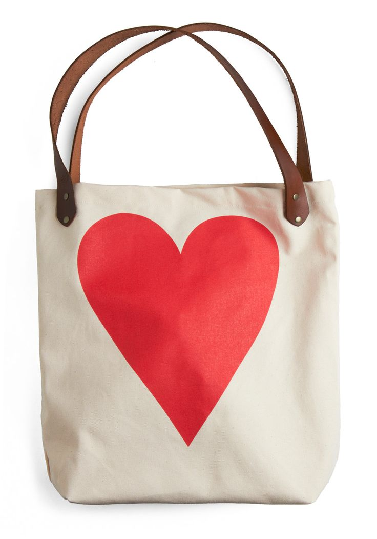 with all my heart tote from modcloth $50: Totes Bags, Totebag, Valentines Gifts, My Heart, Big Heart, Heart Bags, Leather Belts, Heart Totes, Retro Vintage