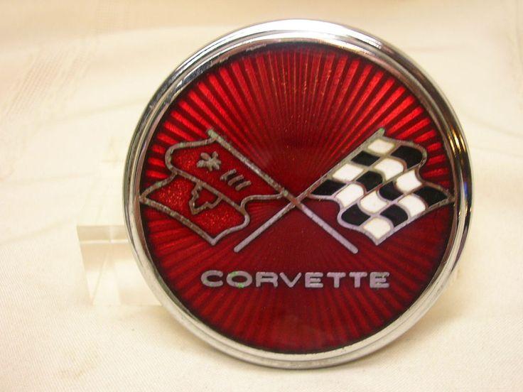 """Vintage 1975 1976 Corvette Emblem BB Co. Rochester, NY 3 1/8"""" Flags Racing GM #Corvette"""