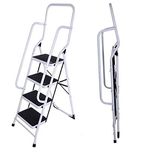 Delex Foldable 4 Step Steel Non Slip Ladder tread Stepladder With Side and Front Safety Rail Handrail Home 4-Step Ladder features front and side safety rails, Extra support, stability, safety and confidence, The two side rails are complimented by non-slip rubber trim steps and (Barcode EAN = 5397007037739) http://www.comparestoreprices.co.uk/december-2016-4/delex-foldable-4-step-steel-non-slip-ladder-tread-stepladder-with-side-and-front-safety-rail-handrail-home.asp