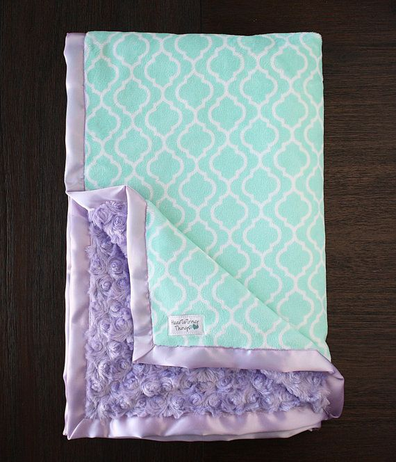Minky Blanket baby girl custom baby girl blanket mint and