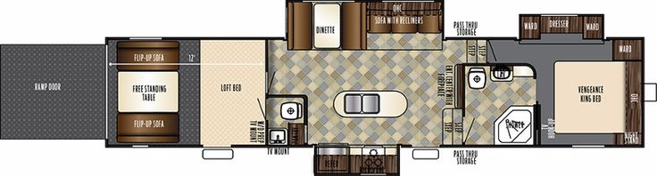 The Vengeance 377V is a functional toy hauler fifth wheel with the comforts of home. The 377V features solid surface countertops, a large 8 cubic foot fridge, and a stainless steel sink. You have a 12 foot garage, cargo ramp with patio option, diamond plate floor trim in the garage, fuel station, 5.5 Cummins Onan generator, and enclosed underbelly. Come and see a fifth wheel toy hauler with lots of options for a great price!