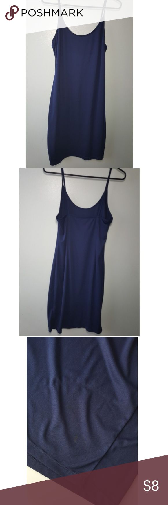 Navy Cami Slip Dress Femine and simple. Size: Medium (fit 6-8) Cuts of above knees Non-adjustable straps Perfect for wear under sheer dresses or by itself  Note: small burn at the lower back side (Accidentally sat on curler wand, price lowered) Dresses Mini