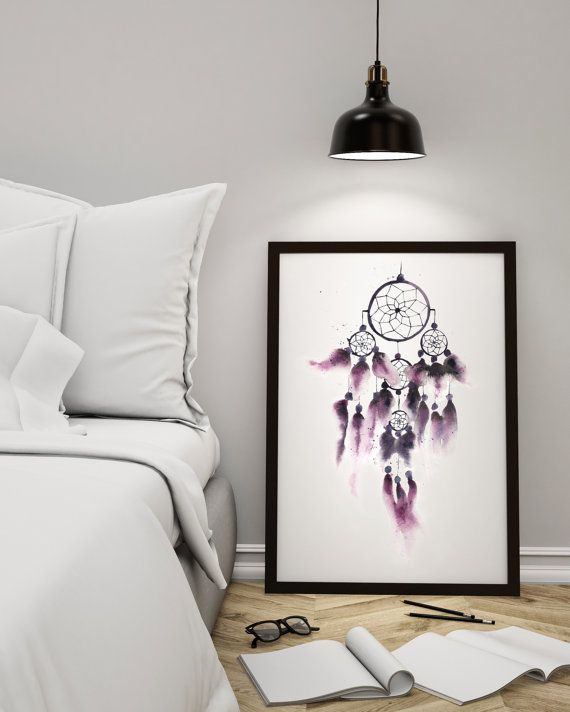 Dreamcatcher Watercolor Painting with Purple Feathers. Boho Bohemian Wall Decor. Bedroom Home Decor
