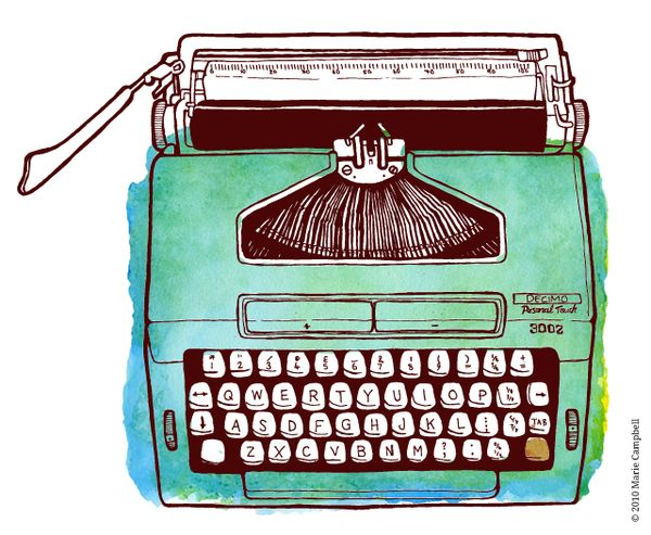 Typewriter illustration by Marie Campbell , via Behance