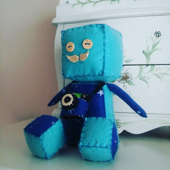 Cute Robot boy with camera Robot Felt Doll Baby by Lillymagazinche