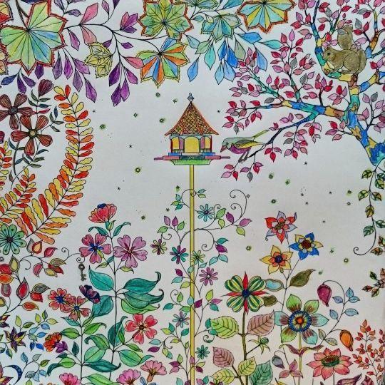 """The coloring job with the most likes on Basford's website, from the book """"Secret Garden."""""""