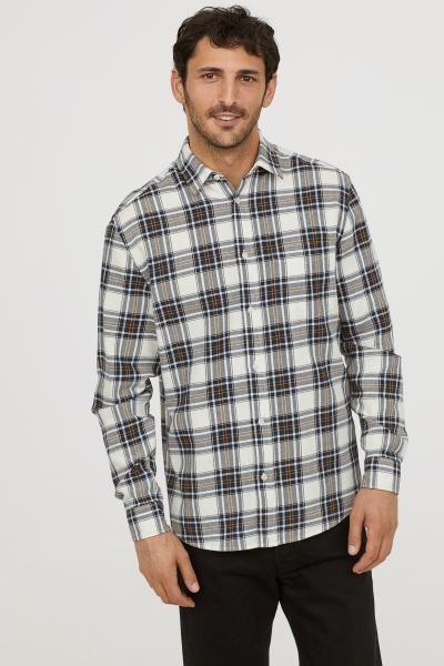 Regular Fit Cotton Shirt - Dark blue white checked - Men  ce6eb557c1dd8
